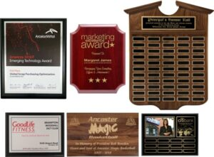 6 different types of award plaques. metal, custom, sponsor, annual and wood plaques.