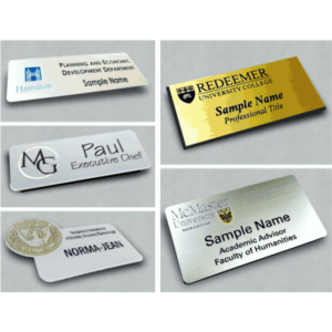 Five different types of name bandages and styles. Engraved gold and printed silver.