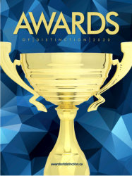 gold trophy on blue background , catalog cover