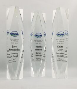Collage of three Crystal Trophies that have been UV printed logo and text.