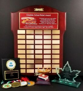 Collage of graduation awards and plaques.