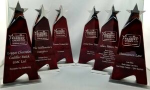 Laser engraved trophies with silver paint filled text