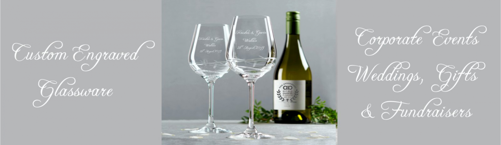 picture of an engraved wine glass for wedding,  we engrave glass.