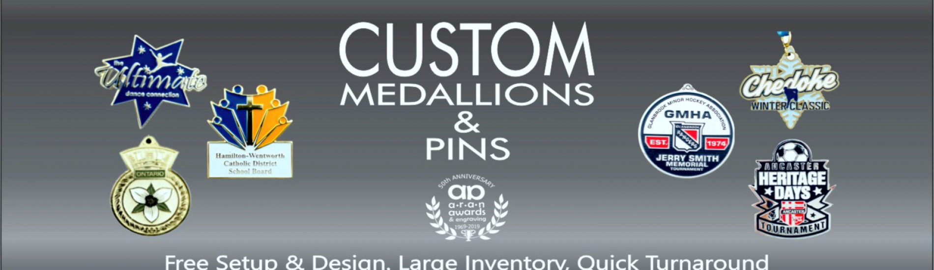 banner image with custom medals and lapel pins on black background