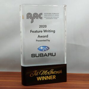 Glass award with UV colour printed logo and text