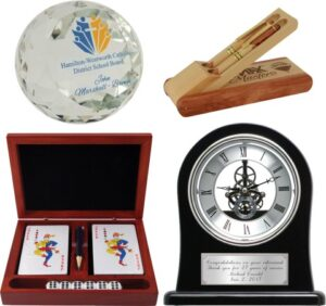 Picture of personalized clocks, pens and gifts